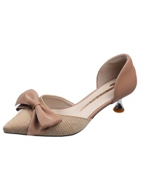 Fashion Pink Bow Pointed Toe Mid-heel Shoes