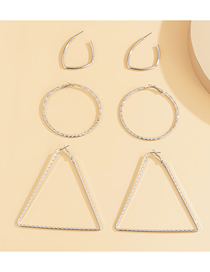 Fashion Silver Geometric Triangle Alloy Hollow Earring Set