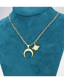 Fashion Gold-plated White Zirconium Planet Star Ring Gold-plated Zirconium Pendant Necklace