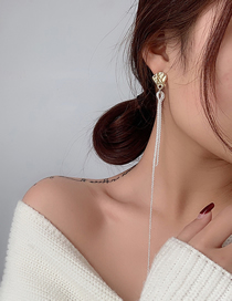 Fashion White Snowflake Chain Tassel Earrings