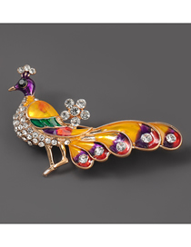 Fashion Peacock Alloy Oil Drop Diamond Peacock Brooch