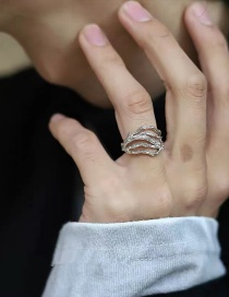 Fashion Silver Hollow Texture Line Opening Adjustable Ring
