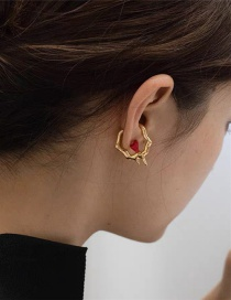 Fashion Pair Of Gold Ear Clips Irregular Geometric Dripping Love Heart Without Pierced Ear Bone Clip