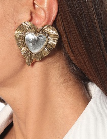 Fashion Earring Ruffled Real Gold-plated Love Three-dimensional Earrings Necklace