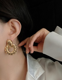 Fashion Round Gold Circle Geometry Irregular Alloy Earrings
