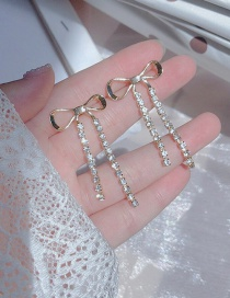 Fashion Golden Long Bow Tassel Earrings With Diamonds
