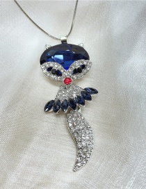 Fashion Blue Crystal And Diamond Fox Alloy Necklace