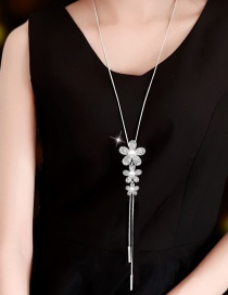 Fashion White Flower Diamond Pearl Alloy Tassel Necklace