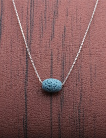 Fashion 1 Blue Volcano Volcanic Oval Thin Chain Necklace