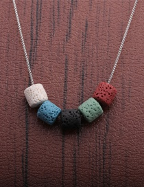 Fashion Mixed Color A Volcanic Stone Beaded Contrasting Color Thin Chain Necklace