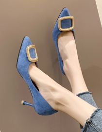 Fashion Blue Pointed Velvet Bread Root Hollow Stiletto Square Buckle Sandals