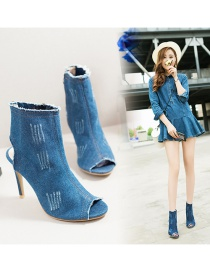 Fashion Light Blue Fish Mouth Cutout Denim Side Zipper High Heels