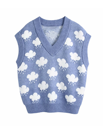 Fashion Blue Jacquard Cloud Knitted Pullover Vest