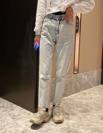 Fashion Light Blue Washed Loose Straight-leg High-rise Jeans