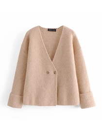 Fashion Khaki Wool And Alpaca Double Button Knitted Coat