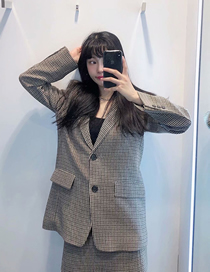 Fashion Houndstooth Houndstooth Double Button Loose Blazer