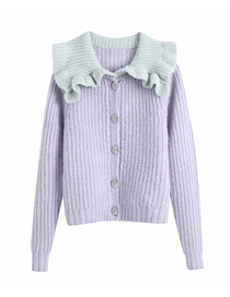 Fashion Purple Contrasting Neckline Knitted Sweater Coat