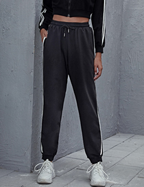 Fashion Black Lace-up Solid Color White Striped Trousers