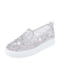 Fashion Silver Round-toe Shallow Mouth Non-slip Flat Mesh Single-pedal Shoes