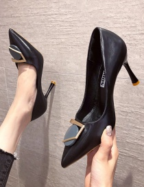 Fashion Black Pointed Stiletto High Heels With Metal Buckle