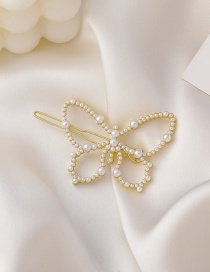 Fashion Butterfly Butterfly Pearl Alloy Hollow Hairpin