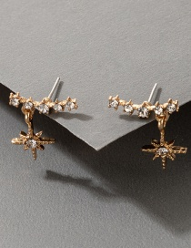 Fashion Golden Eight-pointed Star Micro-inlaid Zircon Star Earrings