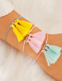 Fashion Color Mixing 3-piece Set Of Tassel Contrast Color Adjustable Bracelet