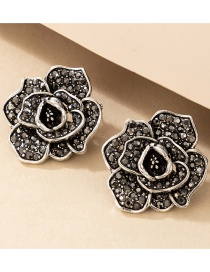 Fashion Black Multilayer Three-dimensional Diamond Flower Earrings