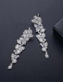 Fashion Platinum Gold-plated Copper And Diamond Geometric Long Earrings