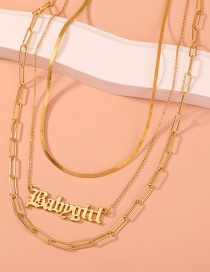 Fashion Golden Alphabet Snake Bone Chain Alloy Multilayer Necklace