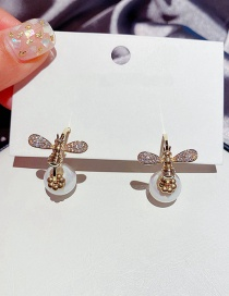 Fashion Real Gold Plated Asymmetric Micro-set Zircon Bee Pearl Earrings