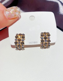 Fashion Real Gold Plated Real Gold Plated Geometric Earrings With Diamonds