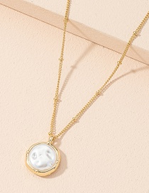 Fashion Golden Pearl Pendant Alloy Geometric Necklace