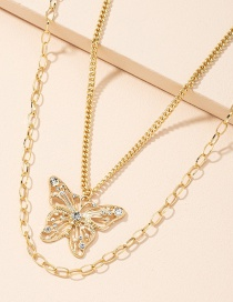 Fashion Butterfly Necklace Diamond-studded Butterfly Alloy Hollow Multilayer Necklace