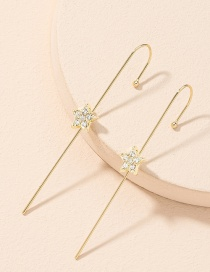 Fashion Golden Diamond-studded Five-pointed Star Piercing Alloy Ear Bone Clip