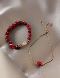 Fashion Rose Red Bracelet Multi-layered Bracelet With Gems And Geometric Crystals