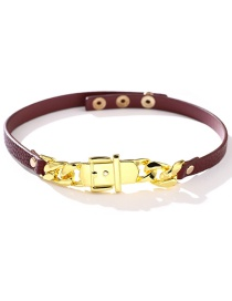 Fashion Red Pu Leather Alloy Chain Adjustable Snap Necklace