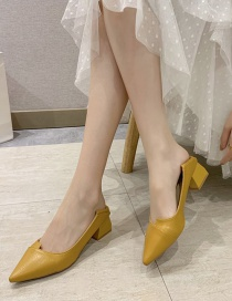 Fashion Yellow Pointed Thick Heel Pumps