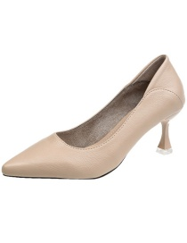 Fashion Apricot Pointed Soft Leather High Heels