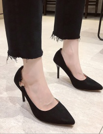 Fashion Black Pointed Suede High-heeled Suede Metal Buckle Shoes