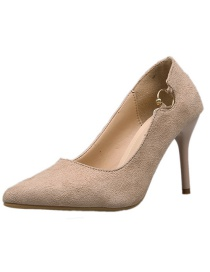 Fashion Khaki Pointed Suede High-heeled Suede Metal Buckle Shoes