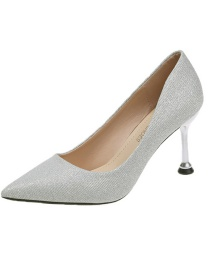 Fashion Silver Sequined Stiletto Pointed Pumps