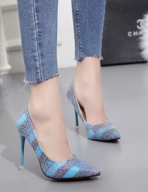 Fashion Blue Pointed Toe Color Matching Super High Heel Shoes