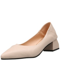 Fashion Beige Pointed Thick Heel Shallow Non-slip Hollow Shoes