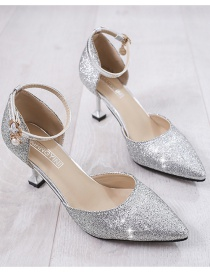 Fashion Silver Sequined Buckle Pointed Toe Stiletto Sandals