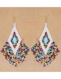 Fashion Color Mixing Beaded Rice Beads Hand Woven Geometric Tassel Earrings