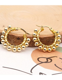 Fashion Golden 4mm Imported Non-fading Gold Bead Round Earrings