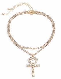 Fashion Golden + Transparent Diamond Tassel Full Diamond Claw Chain Cross Peach Heart Multilayer Necklace