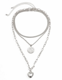 Fashion White K Snake Bone Chain Love Heart Round Alloy Necklace Set