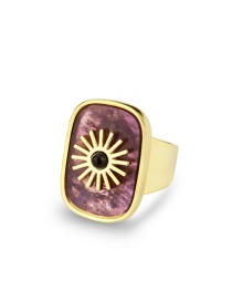 Fashion Open Ring Amethyst Flat Stone Square Sun Copper Gold Plated Ring